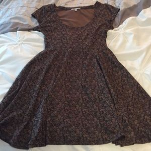 Brown floral swoop neck skater dress